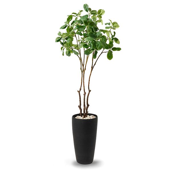 マグノリアリーフ フェイク グリーン 枝 造花 GREENPARK TPプランター ブラック PRGR-1144 エコストーン リバーロック ウッドチップ 観葉植物 おしゃれ
