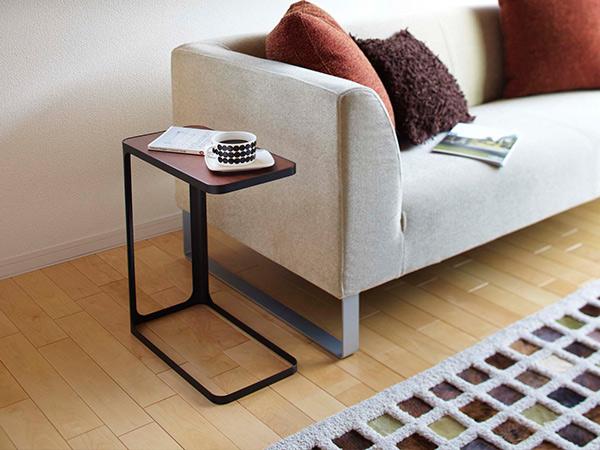 サイド テーブル frame フレーム 高さ52cm コの字 おしゃれ 白 黒 木製 ソファ 収納 かわいい コンパクト スリム スチール アイアン 白 黒 山崎実業 ST-B