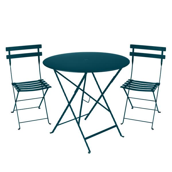 ビストロ ラウンド テーブル 77Hと チェア 2脚 セット Fermob bistro フェルモブ 折りたたみ カラー メタル ガーデン カフェ テラス 丸 円