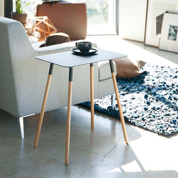 サイドテーブル プレーン 角型 Side Table | シンプル インテリア 長方形 四角 スクエア 木製 スチール 山崎実業 アイアン 白 黒 ホワイト ブラック 773507 773508