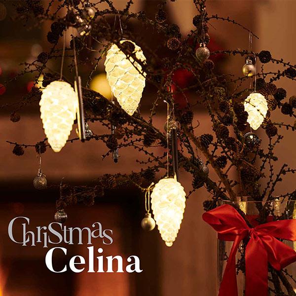松ぼっくり ライト H8cm LED オーナメント 北欧 飾り ガラス おしゃれ オーナメント インテリア SIRIUS Celina Cone Snowy 56550