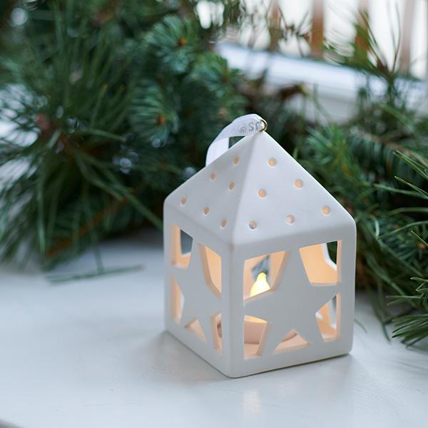 オリナ ハウス ランタン LED オーナメント リモコン 北欧 ハート 星 雪 結晶 柊 陶器 白 飾り おしゃれ インテリア SIRIUS Olina Lantern