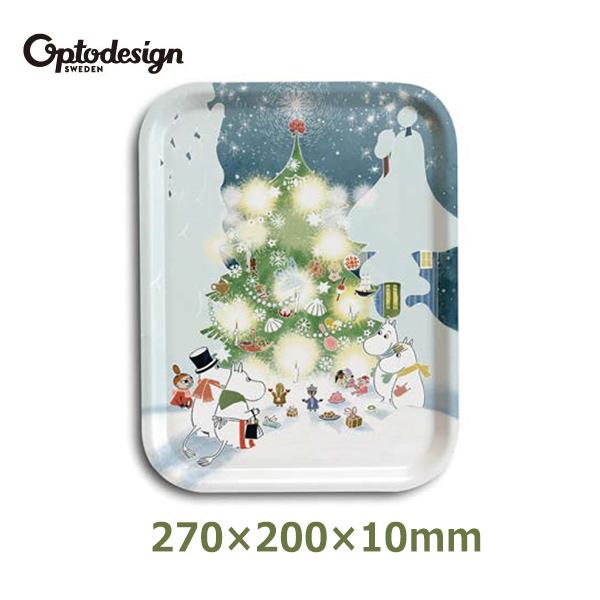 ムーミン ファミリー グッズ 27cm クリスマス 木製 可愛い プレート トレー トレイ お盆 optodesign オプトデザイン 北欧 Moomin Christmas Tree OPD060051