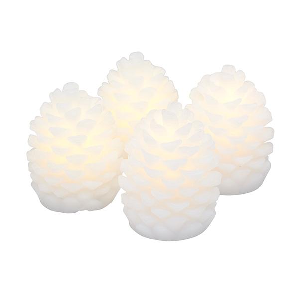 松ぼっくり テーブル ライト H7cm 4個セット 本物のロウで作られた LED キャンドル オーナメント おしゃれ 蝋 ホワイト SIRIUS Clara 13103