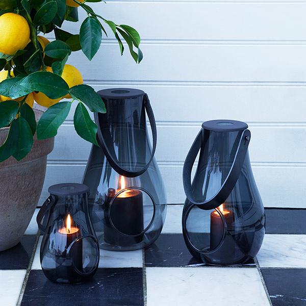 ホルムガード ランタン クリア ブラック H25cm HOLMEGAARD キャンドル テーブルライト ガラス 北欧 DESIGN WITH LIGHT 4343536 スモーク