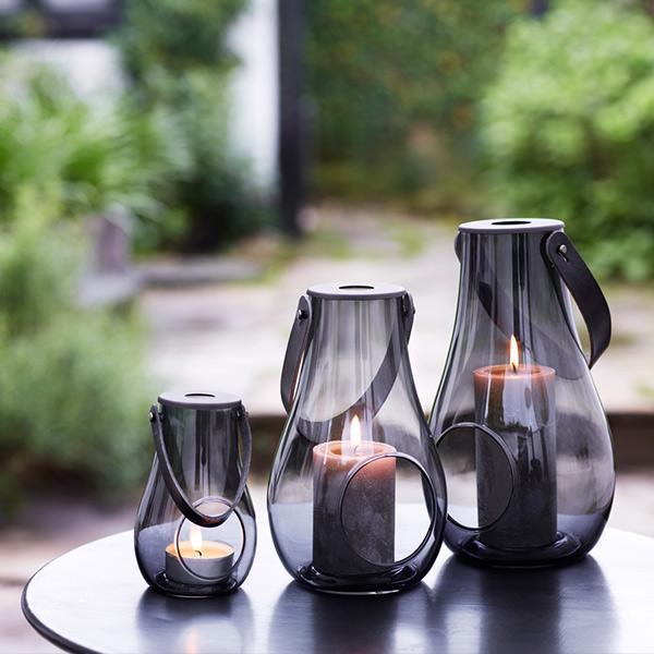 ホルムガード ランタン クリア ブラック H29cm DESIGN WITH LIGHT 4343535 キャンドル ホルダー 北欧 スモーク ガラス おしゃれ ライト