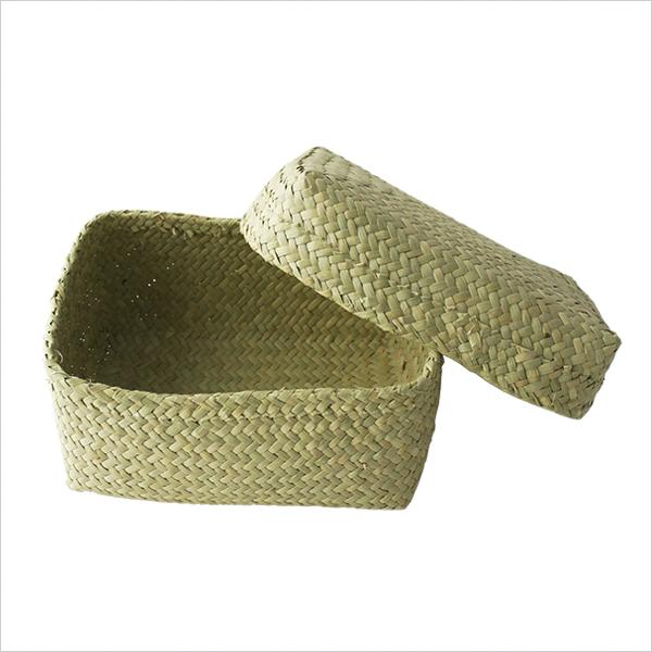 ふたつきかご 大 長方形 カゴ バスケット ふた付き 小物入れ 弁当入れ 収納 編み ボックス ヨーガンレール ババグーリ J0475LKB206