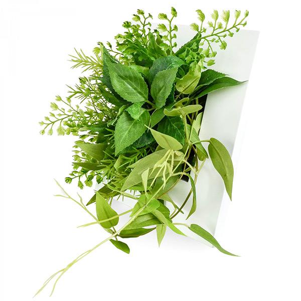 フェイクグリーン 壁掛け ミニ 卓上 造花 観葉植物 リキュウソウ × ブロッサムリーフ ウォールデコS GREENPARK PRGR-1153 インテリア 壁 おしゃれ 白 フレーム