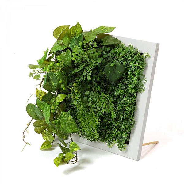 フェイクグリーン 壁掛け 観葉植物 造花 ポトス ベリー ホワイトフレーム グリーン スクエア おしゃれ 植物 人口植物 人気 PRGR-1316F GREENPARK グリーンパーク