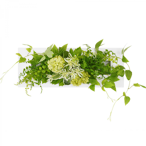フェイクグリーン 壁掛け 卓上 造花 観葉植物 テッセンソウ × ボタンファーン ウォールデコM GREENPARK PRGR-1055 スタンド付 インテリア おしゃれ 白 フレーム