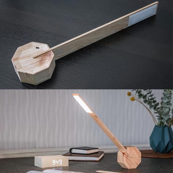 LED テーブル デスク ライト タッチボタン 4段階調光 3アングル 充電式 木目 おしゃれ ナチュラル ホワイト ブラック オーク オクタゴンワンデスクライト