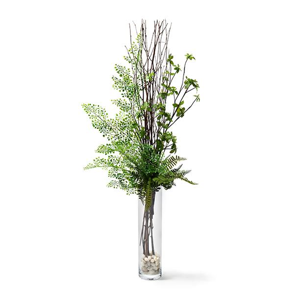 造花 ドウダンツツジ × アジアンタム ガラス シリンダー 高さ 110cm 花瓶 直径10 GREENPARK グリーン パーク フェイクグリーン 新築 開業 祝い 室内 おしゃれ