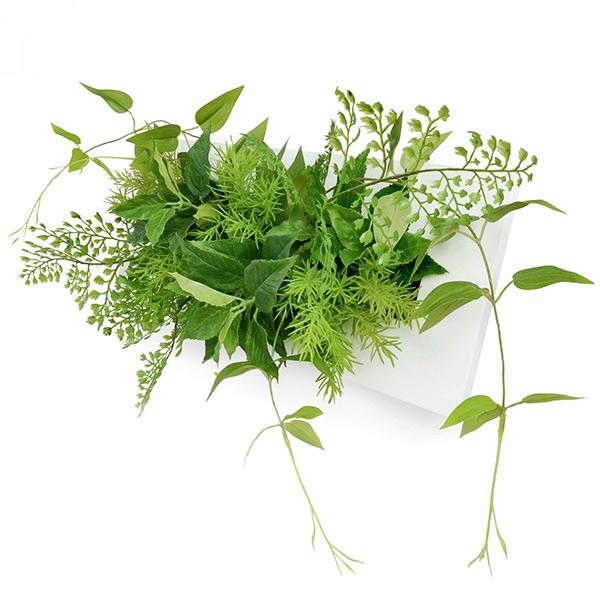 フェイクグリーン 壁掛け 卓上 造花 観葉植物 リキュウソウ × ブロッサムリーフ ウォールデコM GREENPARK PRGR-1154 スタンド付 インテリア おしゃれ フレーム