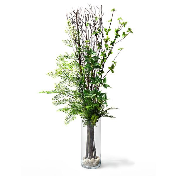 造花 ドウダンツツジ × アジアンタム ガラス シリンダー 高さ 110cm 花瓶 直径14 GREEN PARK グリーン パーク フェイクグリーン 新築 開業 祝い 室内 おしゃれ