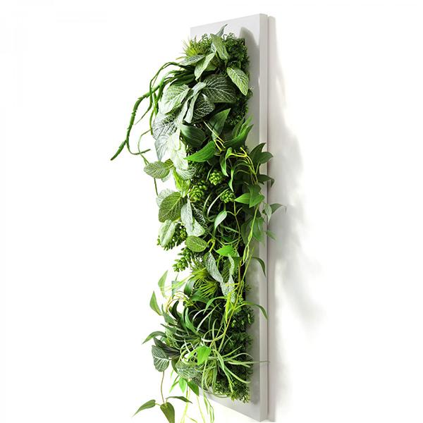 フェイクグリーン 壁掛け 観葉植物 造花 大型 フィットニア セダム ホワイトフレーム グリーン ロング おしゃれ 植物 装飾 PRGR-1310 GREENPARK グリーンパーク