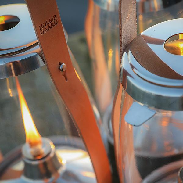 ホルムガード オイル ランタン H33.1cm ハリケーンランタン HOLMEGAARD Design with Light 4343541 ランプ おしゃれ 北欧 ガラス 革