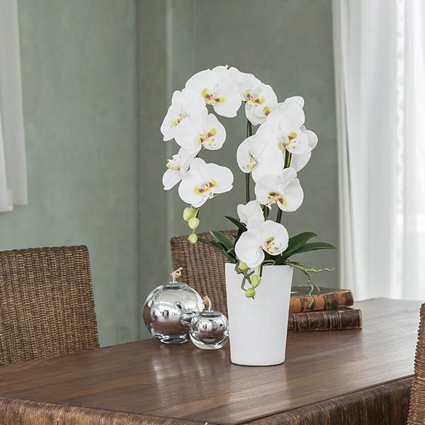 造花 コチョウラン 胡蝶蘭 2本 立ち コチョウ ラン 花瓶 GREEN PARK グリーン パーク フェイクグリーン 新築 開業 祝い ギフト 贈り物 ホワイト 白 花 シンプル