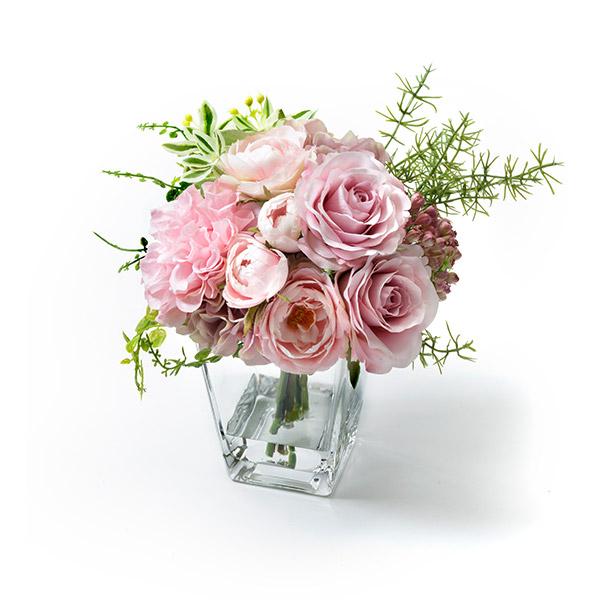 造花 ローズ ウォーター アレンジ ピンク ホワイト フェイクグリーン PRIMA プリマ 白 薔薇 バラ 花 ブーケ 可愛い シンプル ナチュラル ギフト