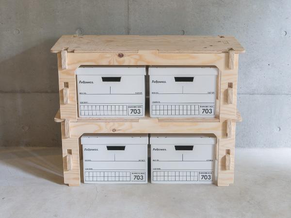 木製 折りたたみ スタッキング シェルフ 2段セット YOKA ヨカ 収納 ラック 棚 テーブル ウッド 屋外 屋内 インテリア おしゃれ チェスト