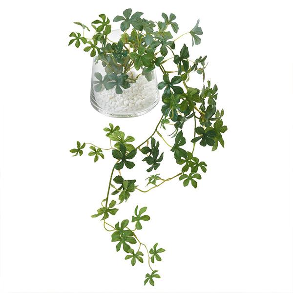 フェイクグリーン シュガーバイン 卓上 造花 観葉植物 テーブルグリーン ガラス トラペゾイド インテリア おしゃれ GREENPARK PRGR-0946 人気 アレンジメント