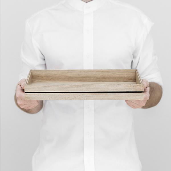 収納 マルチ トレイ ボックス 小物 入れ トレー MOEBE ムーベ 木製 おしゃれ 北欧 ナチュラル インテリア オーガナイズ L スタッキング 34cm オーク デスク