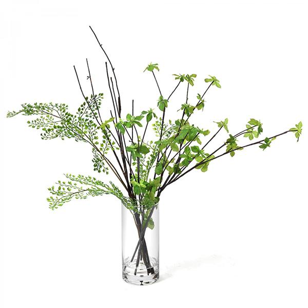 フェイクグリーン ドウダンツツジ アジアンタム 卓上 造花 観葉植物 テーブルグリーン ウォーターシリンダー PRGR-1305 GREENPARK グリーンパーク 人気 人工