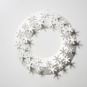 リース おしゃれ 玄関 インテリア リビング 雪 S ペーパーリース スノー シンプル ホワイト メール便 対応 Paper Wreath PW04-S-205 白 オーナメント 飾り