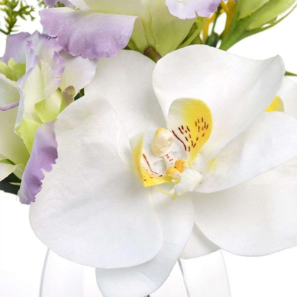 フェイクグリーン ミニ 胡蝶蘭 トルコキキョウ お供え アレンジ 造花 おしゃれ 供花 仏花 2個セット アレンジメント 花束 日本製 PRMF-0119 アーティフィシャルフラワー
