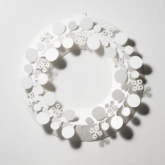 ユーカリ M ペーパー リース シンプル ホワイト Paper Wreath PW05-M-370 Eucalyptus 白 オーナメント おしゃれ インテリア 春 スプリング
