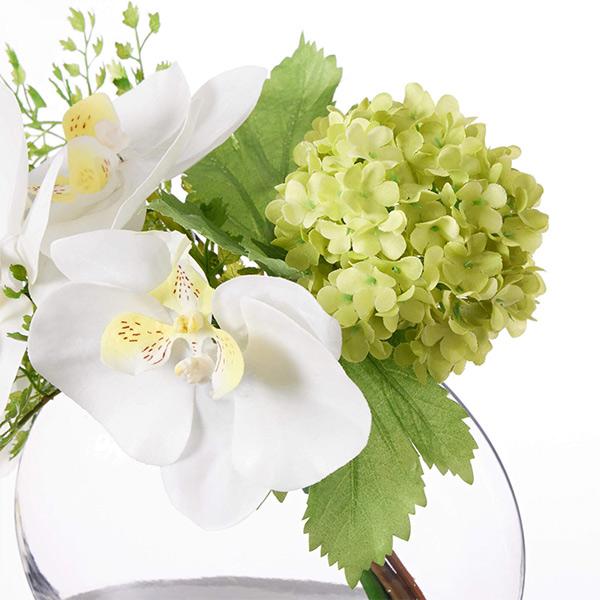 フェイクグリーン ミニ 胡蝶蘭 スノーボール ウォーターアレンジ 造花 おしゃれ プレゼント ギフト 結婚祝い花束 アレンジメント Mサイズ PRGF-0065 アーティフィシャルフラワー