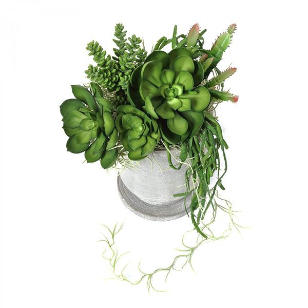 フェイクグリーン 多肉寄せ植え テトラプランター エケベリア セダム リプサリス スパニッシュモス 卓上 観葉植物 テーブルグリーン 花器付 PRGR-1306 GREENPARK