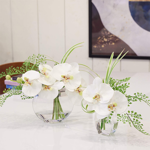 フェイクグリーン ミニ 胡蝶蘭 ドラセナ ウォーターアレンジ 造花 おしゃれ プレゼント ギフト 結婚祝い 花束 アレンジメント Mサイズ PRGF-0067 アーティフィシャルフラワー