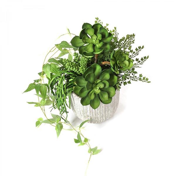 フェイクグリーン 多肉 寄せ植え オベリスポット エケベリア セダム テッセンソウ リプサリス 卓上 観葉植物 テーブルグリーン 花器付 PRGR-1307 GREENPARK