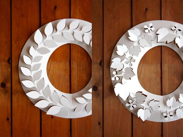 もみの木 M ペーパー リース 樅 シンプル ホワイト Paper Wreath 紙 白 おしゃれ 飾り 玄関 オーナメン おしゃれ インテリア クリスマス