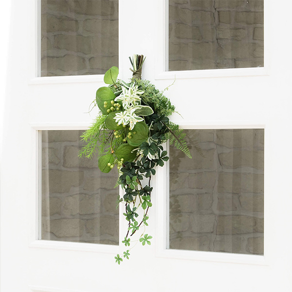 造花 スワッグ フェイクグリーン グリーンスワッグS 玄関飾り アレンジメント シュガーバイン サンキライ ハツユキソウ 壁掛け 観葉植物 PRGR-1064 GREENPARK