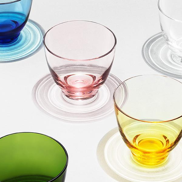 グラス FLOW 350ml 足つき 吹きガラス おしゃれ ギフト プレゼント 北欧 高級 透明 丸い コップ ブランド デザイン ガラス カフェ カラー ブルー ホルムガード