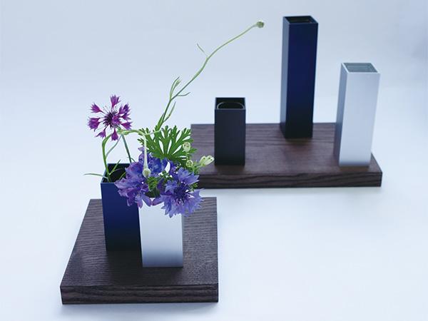 花瓶 おしゃれ 一輪挿し フラワーベース 花器 フラワーベース 花瓶 TSUMIKI つみき Mサイズ ブラック ALART アルアート IZTM-2B 日本製 シンプル アルミ ガラス