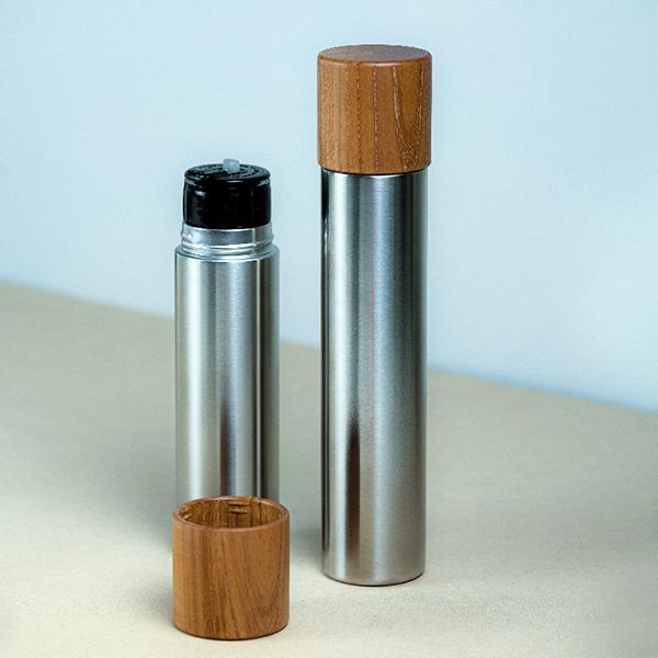 水筒 360 ml おしゃれ ステンレス ボトル ギフト プレゼント MokuNeji モクネジ Bottle L 保温 保温 コップ付き 日本製 木製 ナチュラル