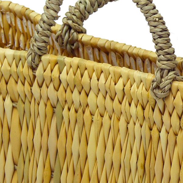 ストロー 横長 カゴ S 水草 かごバッグ バスケット おしゃれ 持ち手 収納 シンプル ピクニック 買い物 エコバッグ レジ 麦わら レディース アフリカンスクエアー