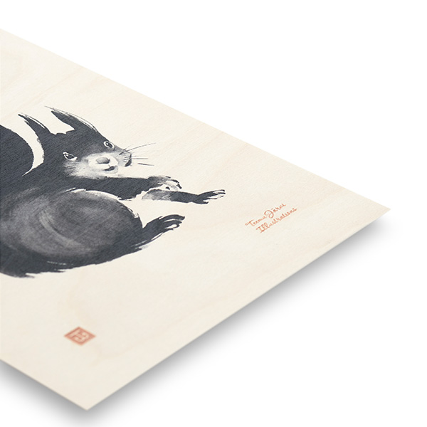 ポスター インテリア 北欧 おしゃれ 木 木製 SQUIRREL リス Teemu Jarvi テーム ヤルヴィ POWFG-SQ2 アート ナチュラル 動物 りす かわいい シンプル モノトーン