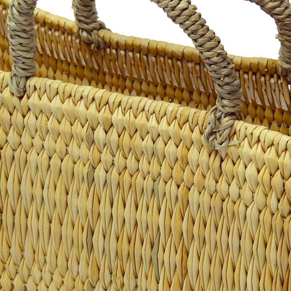 ストロー 横長 カゴ M 水草 かごバッグ バスケット おしゃれ 持ち手 収納 シンプル ピクニック 買い物 エコバッグ レジ 麦わら レディース アフリカンスクエアー