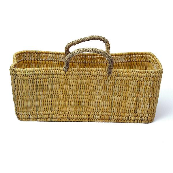 ストロー 横長 カゴ L 水草 かごバッグ バスケット おしゃれ 持ち手 収納 シンプル ピクニック 買い物 エコバッグ レジ 麦わら レディース アフリカンスクエアー