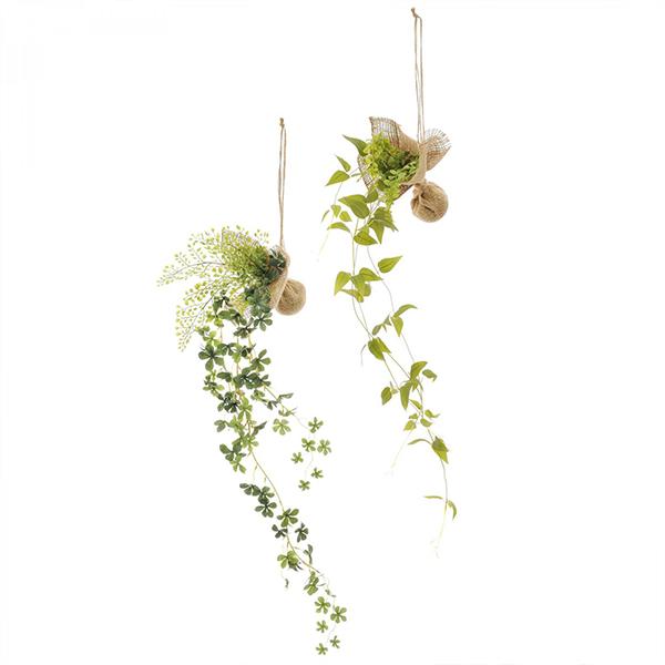 造花 ハンギング フェイクグリーン インテリア リキュウソウ シュガーバイン 消臭 人口 観葉植物 吊り下げ グリーン 2個 セット シンプル PRGR-1183 GREENPARK