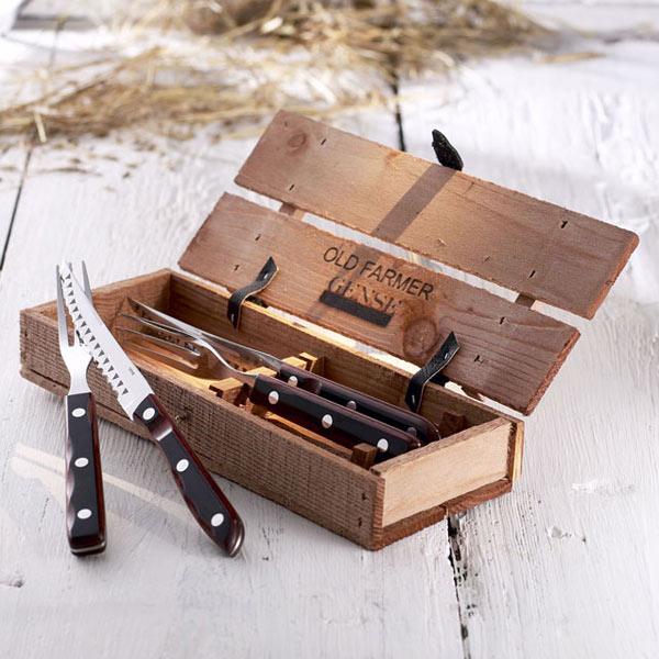 カトラリー セット ケース おしゃれ 収納 ゲンセ グリル カトラリーセット クラシック 4本 OLD FARMER オールドファーマー ナイフ フォーク 木箱入 ステンレス