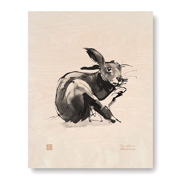 ポスター インテリア 北欧 おしゃれ 木 木製 EUROPEAN HARE ウサギ Teemu Jarvi テーム ヤルヴィ POWFG-EH2 アート動物 うさぎ 兎 かわいい シンプル モノトーン