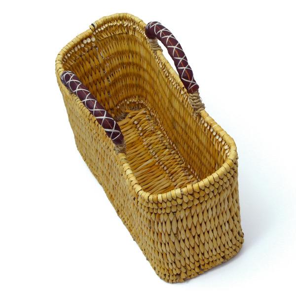 ストロー 四角 カゴ 革ハンドル S 水草 かごバッグ バスケット おしゃれ 持ち手 収納 シンプル ピクニック 買い物 エコ 麦わら レディース アフリカンスクエアー