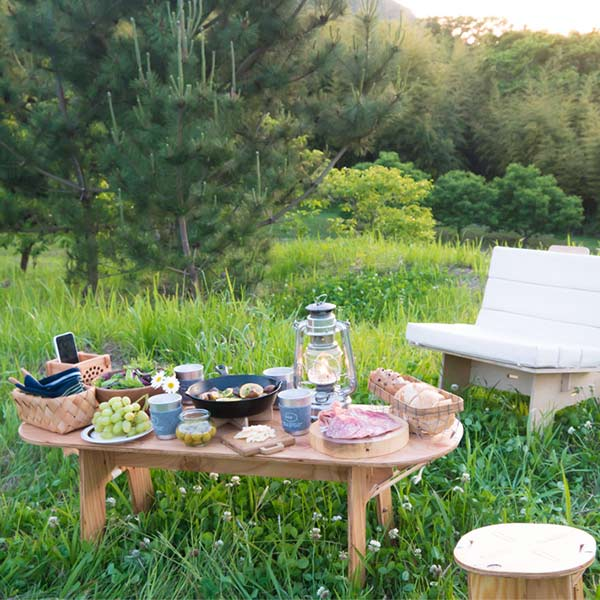 YOKA ヨカ ロング テーブル  DIY用 無塗装椅子 日本製 キャンプ アウトドア レジャー コンパクト 組み立て 折りたたみ 木製
