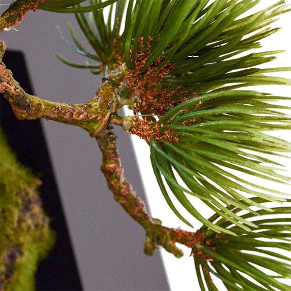 盆栽 松 吹き流し フェイクグリーン 壁掛け 人工 観葉植物 造花 スタンド付 CUPBON PRGR-0909 和室 植物 モダン 北欧 インテリア 癒し 装飾 長寿 アレンジメント