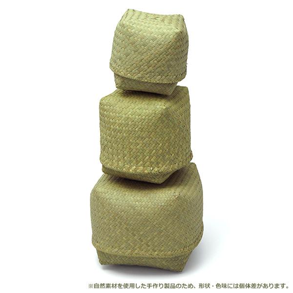 フルナ すっぽり箱 正方形 小 収納 小物入れ おしゃれ ナチュラル 四角 アフリカンスクエア 弁当入れ ハンドメイド 自然 マダガスカル 人気 KD13114C