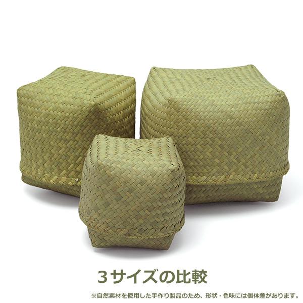 フルナ すっぽり箱 正方形 中 収納 小物入れ おしゃれ ナチュラル 四角 アフリカンスクエア 弁当入れ ハンドメイド 自然 マダガスカル 人気 KD13114B